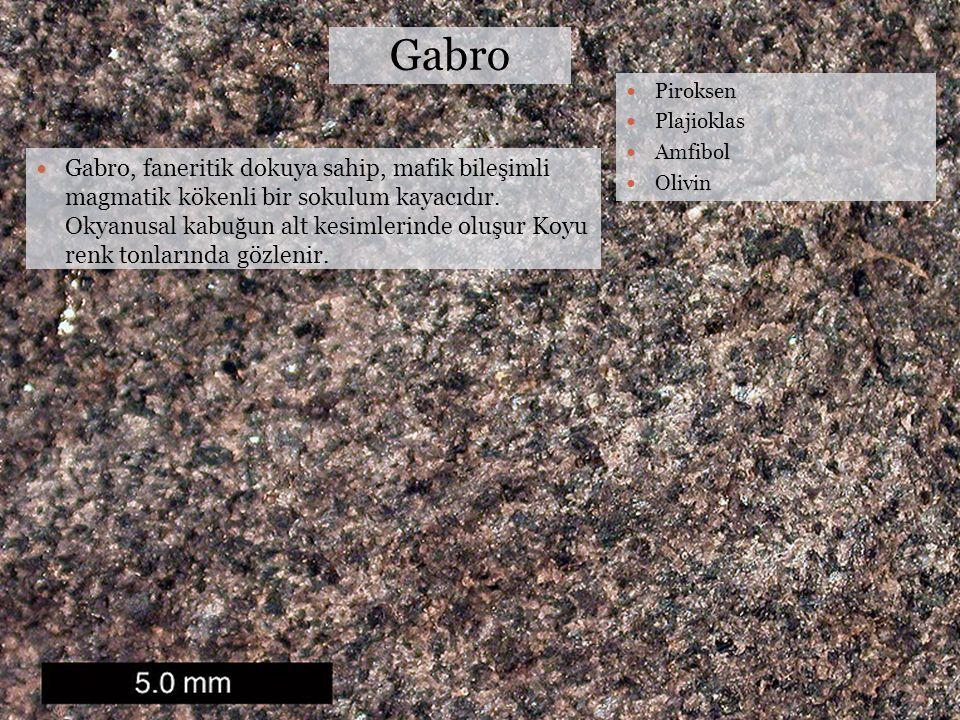 Gabro Piroksen Plajioklas Amfibol Olivin Gabro, faneritik dokuya sahip, mafik bileşimli magmatik kökenli bir sokulum kayacıdır. Okyanusal kabuğun alt