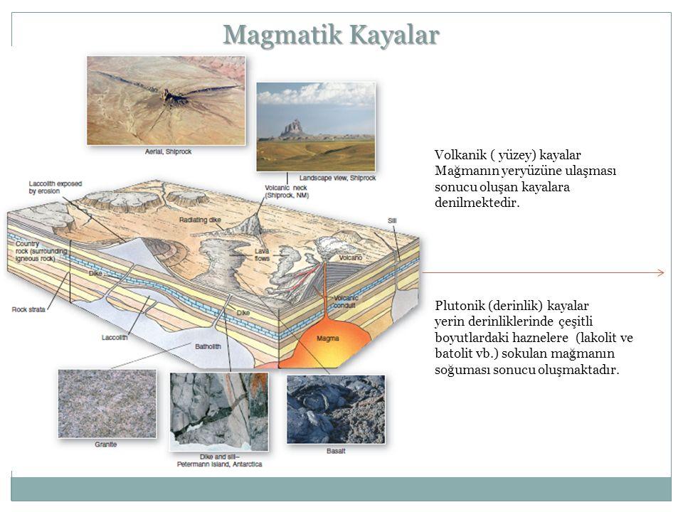 Magmatik Kayalar Volkanik ( yüzey) kayalar Mağmanın yeryüzüne ulaşması sonucu oluşan kayalara denilmektedir. Plutonik (derinlik) kayalar yerin derinli