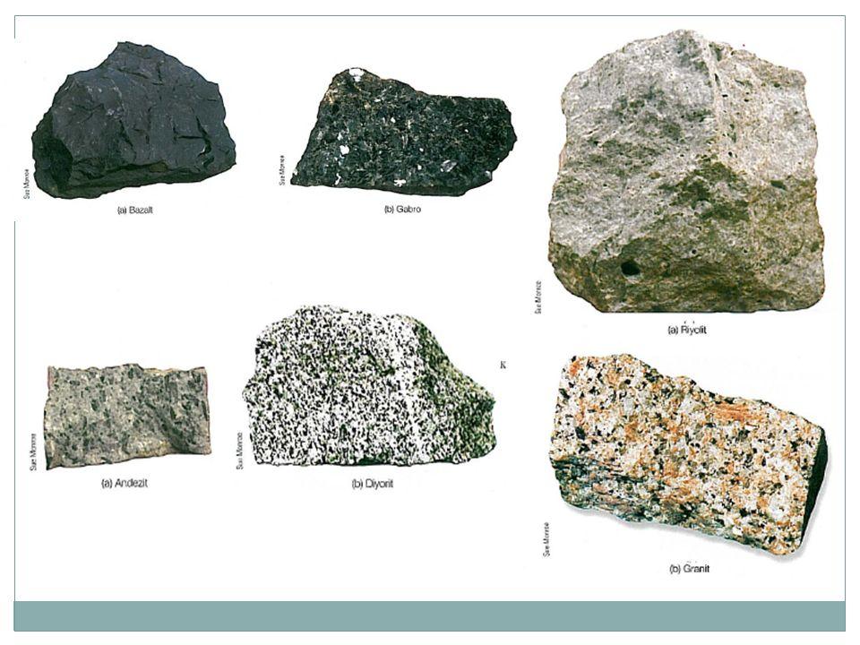 Granit SiO 2 — 72.04% SiO 2 Al 2 O 3 — 14.42% Al 2 O 3 K 2 O — 4.12% K 2 O Na 2 O — 3.69% Na 2 O CaO — 1.82% CaO FeO — 1.68% FeO Fe 2 O 3 — 1.22% Fe 2 O 3 MgO — 0.71% MgO TiO 2 — 0.30% TiO 2 P 2 O 5 — 0.12% P 2 O 5 MnO — 0.05% MnO K- feldspat, Na feldspat (paljioklas) kuvars; muskovit, biyotit, hornblend Granit, faneritik dokuya sahip, felsik bileşimli magmatik kökenli bir sokulum kayacıdır.
