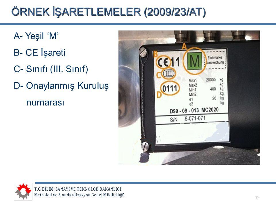 ÖRNEKİŞARETLEMELER (2009/23/AT) ÖRNEK İŞARETLEMELER (2009/23/AT) A- Yeşil 'M' B- CE İşareti C- Sınıfı (III. Sınıf) D- Onaylanmış Kuruluş numarası 12