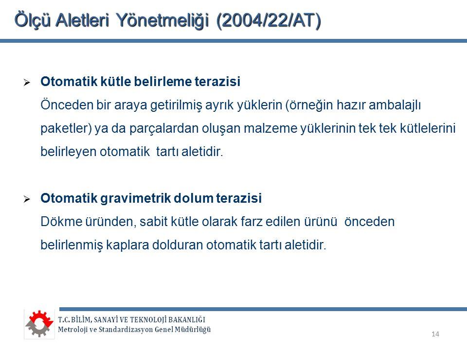 Ölçü Aletleri Yönetmeliği (2004/22/AT)  Otomatik kütle belirleme terazisi Önceden bir araya getirilmiş ayrık yüklerin (örneğin hazır ambalajlı paketl
