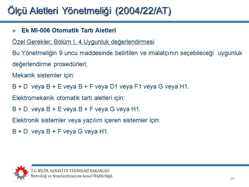 Ölçü Aletleri Yönetmeliği (2004/22/AT)  Ek MI-006 Otomatik Tartı Aletleri Özel Gerekler, Bölüm I, 4.Uygunluk değerlendirmesi Bu Yönetmeliğin 9 uncu m
