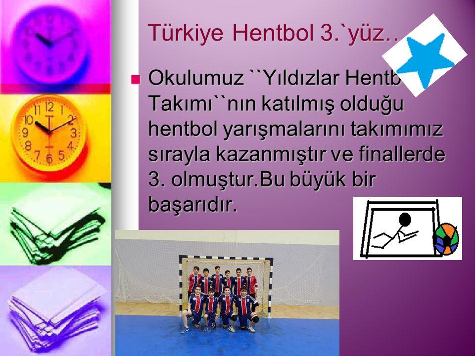 Türkiye Hentbol 3.`yüz… Okulumuz ``Yıldızlar Hentbol Takımı``nın katılmış olduğu hentbol yarışmalarını takımımız sırayla kazanmıştır ve finallerde 3.