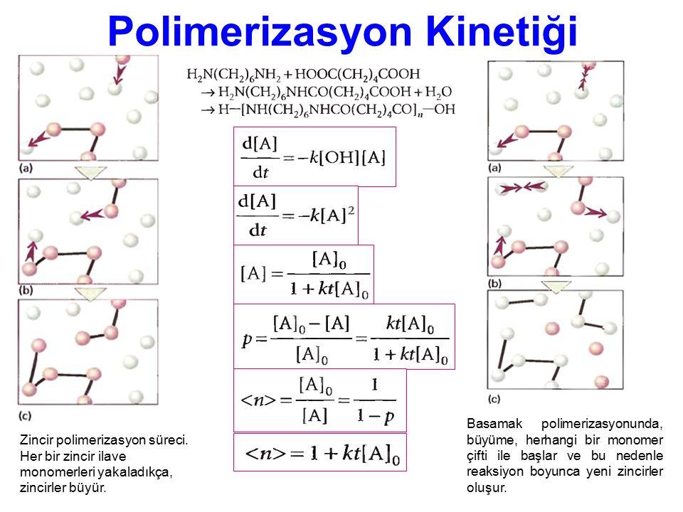 Polimerizasyon Kinetiği Zincir polimerizasyon süreci. Her bir zincir ilave monomerleri yakaladıkça, zincirler büyür. Basamak polimerizasyonunda, büyüm