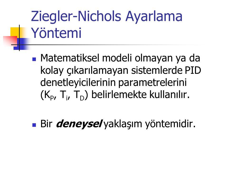 Ziegler-Nichols Ayarlama Yöntemi Matematiksel modeli olmayan ya da kolay çıkarılamayan sistemlerde PID denetleyicilerinin parametrelerini (K P, T i, T