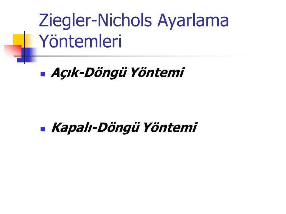 Ziegler-Nichols Ayarlama Yöntemleri Açık-Döngü Yöntemi Kapalı-Döngü Yöntemi
