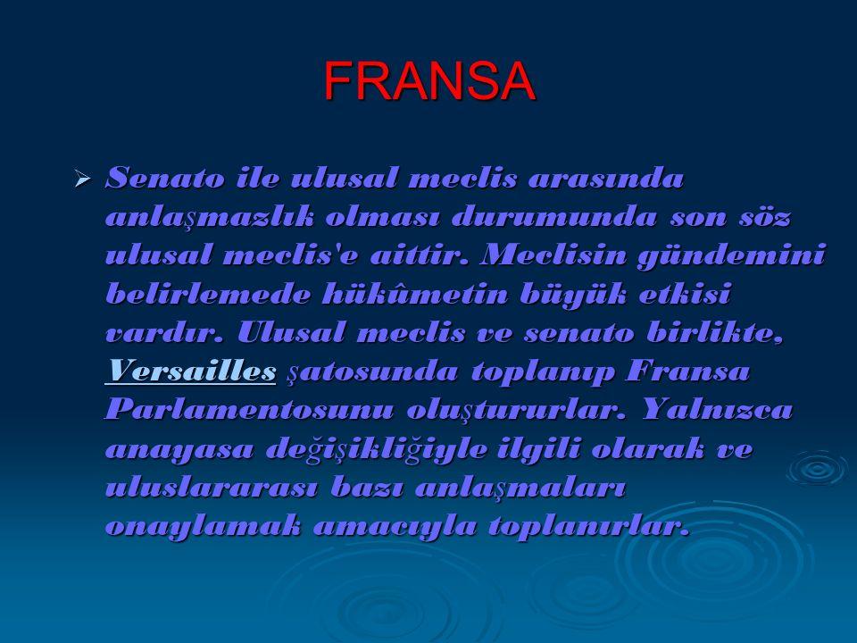 FRANSA  Senato ile ulusal meclis arasında anla ş mazlık olması durumunda son söz ulusal meclis e aittir.