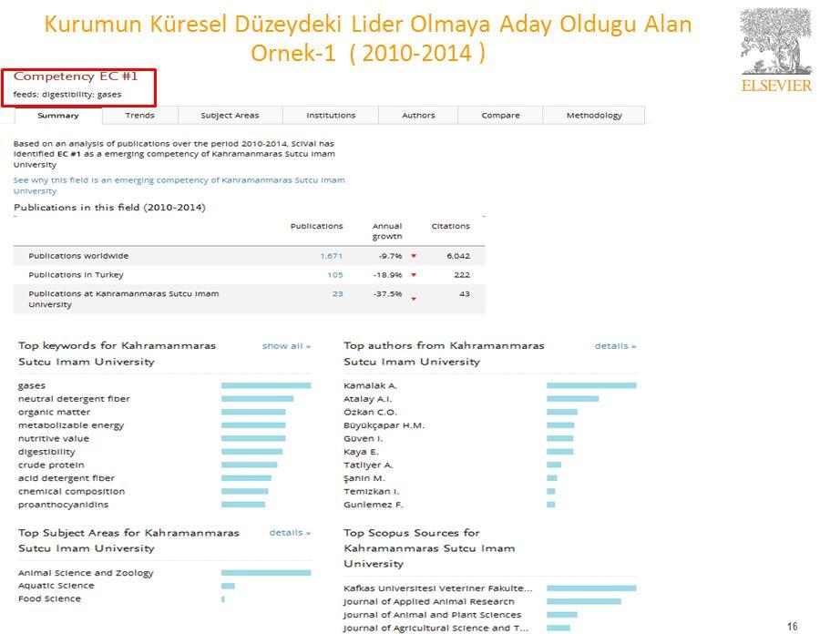 16 Kurumun Küresel Düzeydeki Lider Olmaya Aday Oldugu Alan Ornek-1 ( 2010-2014 )