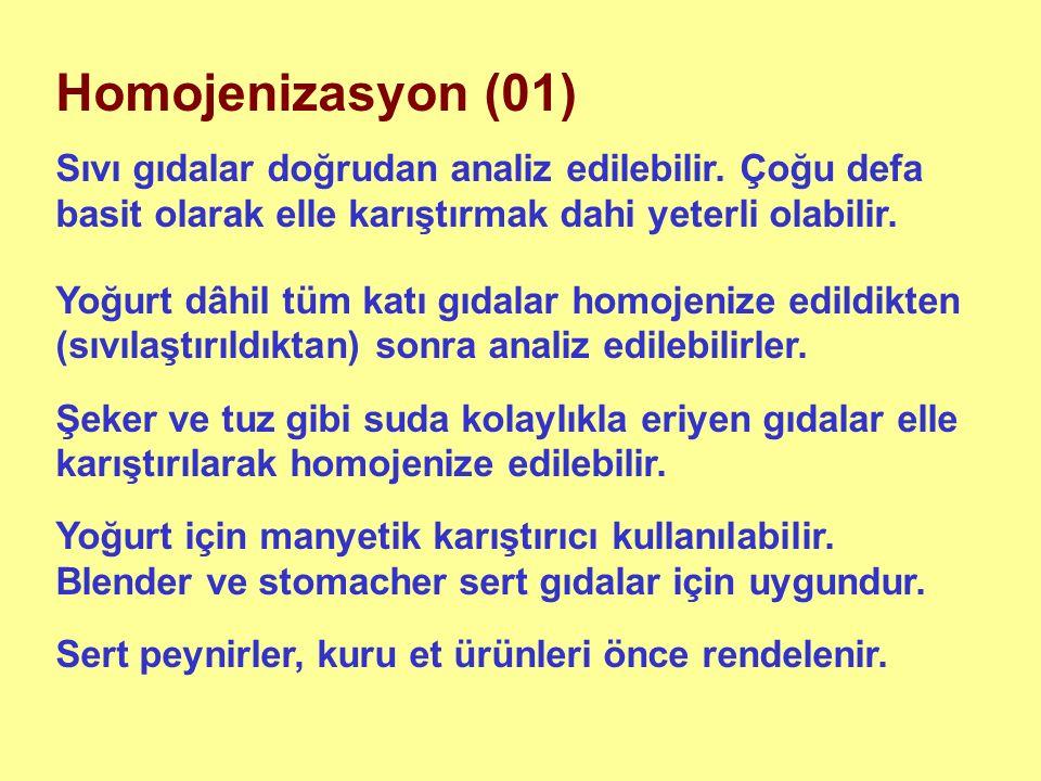 Homojenizasyon (01) Sıvı gıdalar doğrudan analiz edilebilir.
