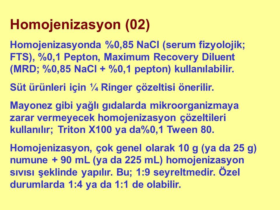 Homojenizasyon (02) Homojenizasyonda %0,85 NaCl (serum fizyolojik; FTS), %0,1 Pepton, Maximum Recovery Diluent (MRD; %0,85 NaCl + %0,1 pepton) kullanılabilir.