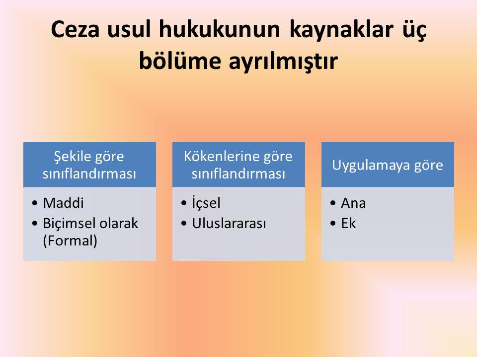 Ceza usul hukukunun kaynaklar üç bölüme ayrılmıştır Şekile göre sınıflandırması Maddi Biçimsel olarak (Formal) Kökenlerine göre sınıflandırması İçsel Uluslararası Uygulamaya göre Ana Ek