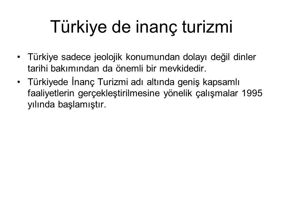 Türkiye de inanç turizmi Türkiye sadece jeolojik konumundan dolayı değil dinler tarihi bakımından da önemli bir mevkidedir.