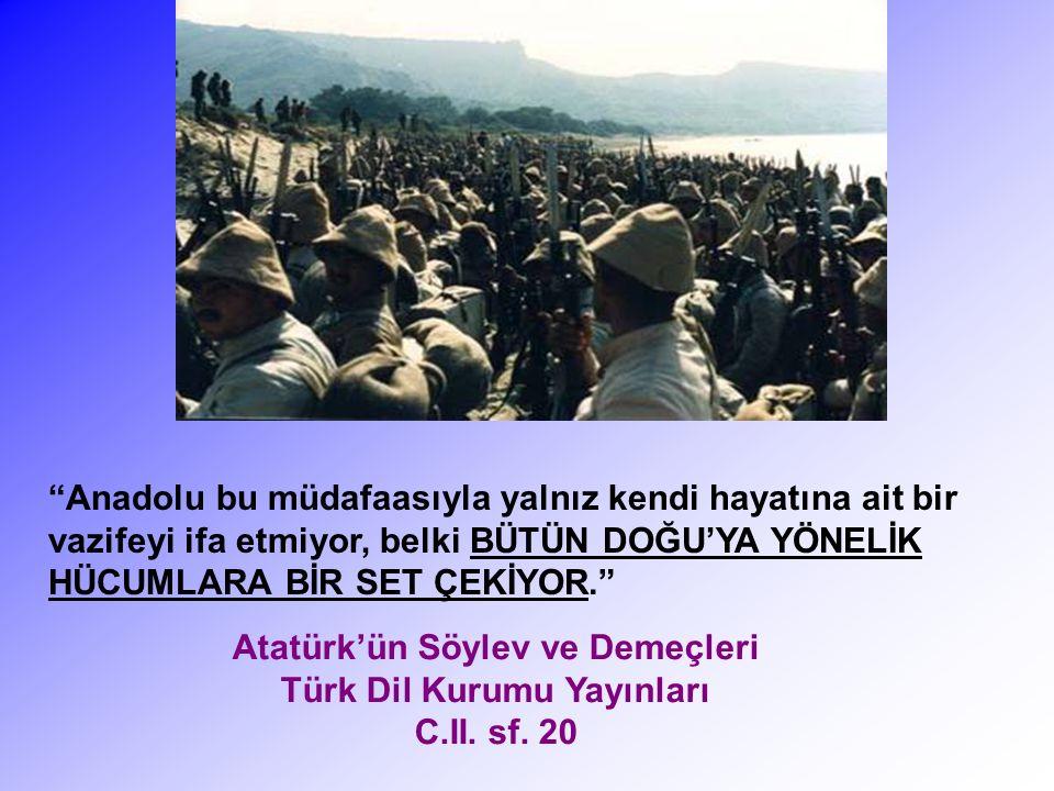 Bundan sonra, şimdiye kadar uykuda kalmış olan büyük Doğu kütleleri derece derece Türkiye'nin eserini takip edeceklerdir.