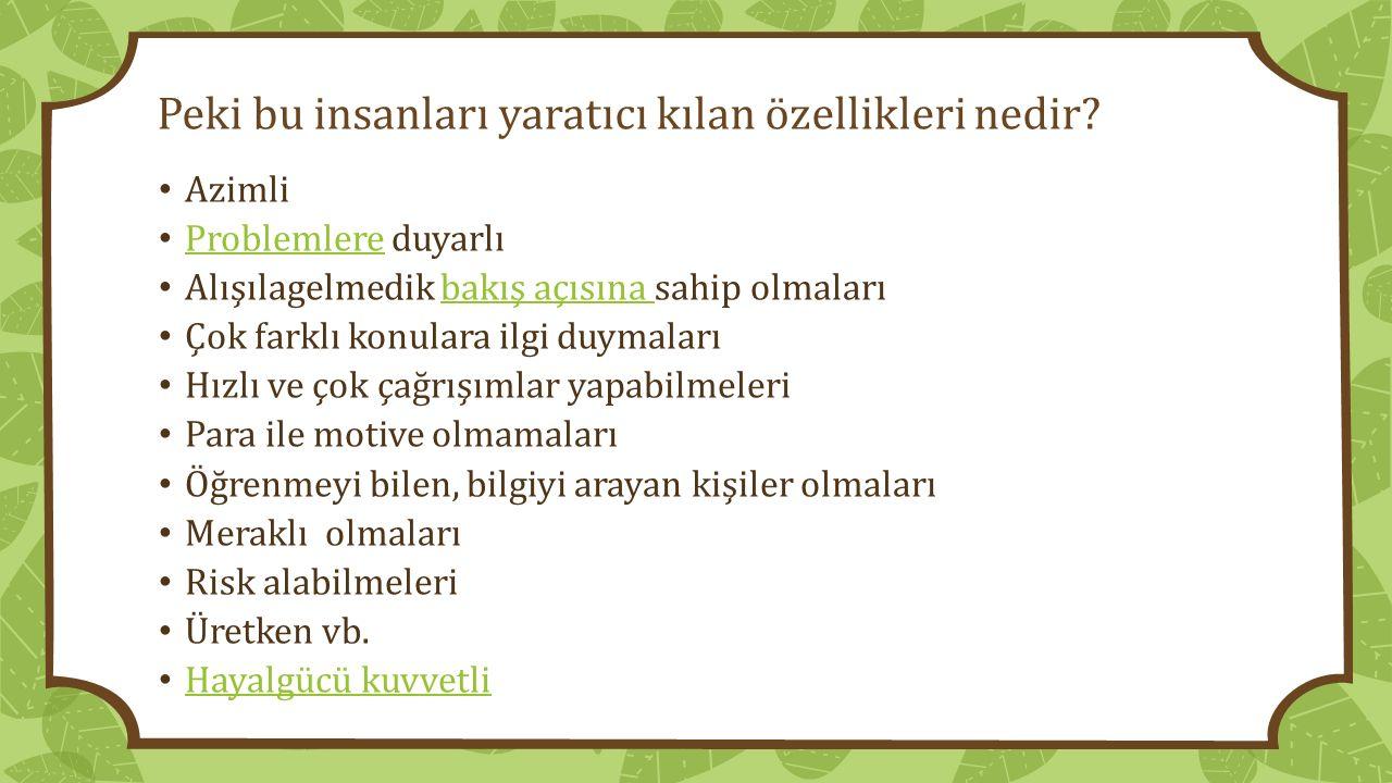 Örneğin Mimar Sinan Mimar Sinan: Farklı malzemeyi denemekten korkmayan, araştırmacı işine tutkuyla bağlı, zevk ve estetik sahibi, üretken, azimli.