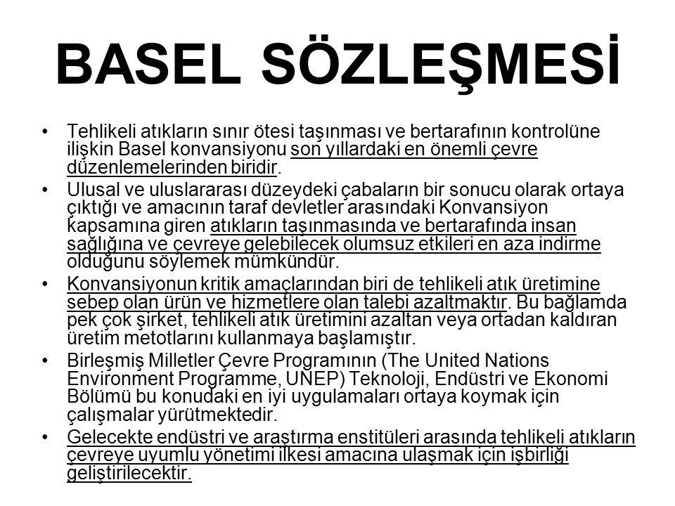 BASEL SÖZLEŞMESİ Tehlikeli atıkların sınır ötesi taşınması ve bertarafının kontrolüne ilişkin Basel konvansiyonu son yıllardaki en önemli çevre düzenlemelerinden biridir.