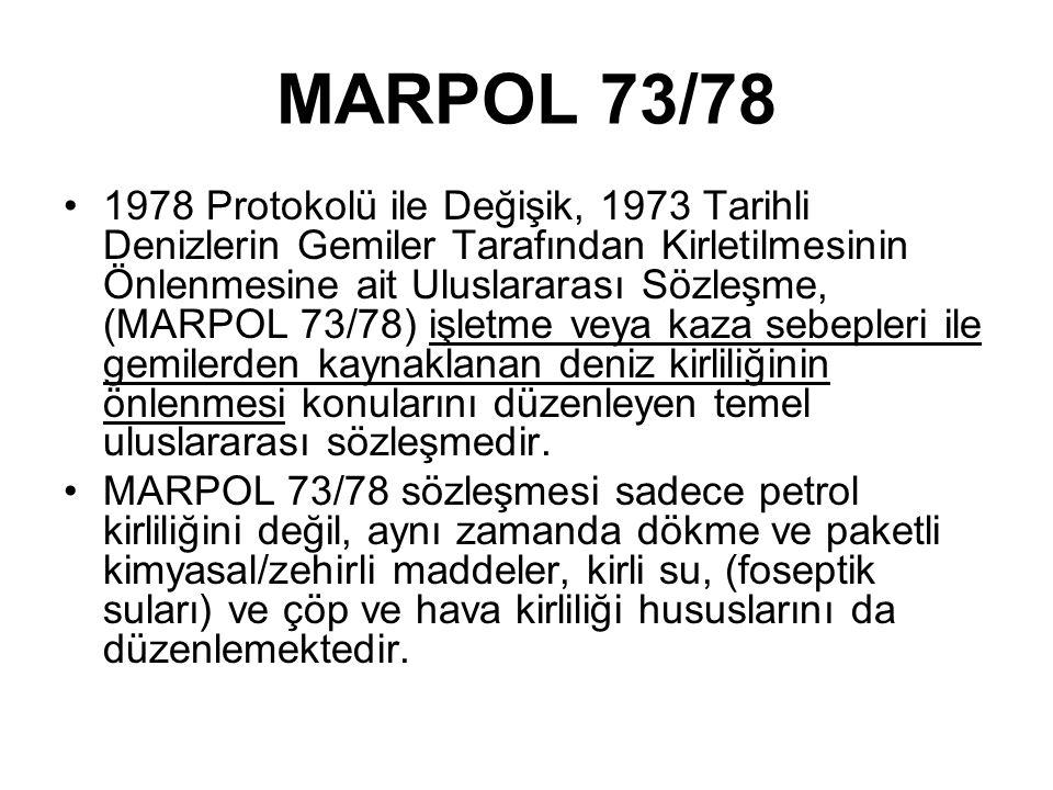 MARPOL 73/78 1978 Protokolü ile Değişik, 1973 Tarihli Denizlerin Gemiler Tarafından Kirletilmesinin Önlenmesine ait Uluslararası Sözleşme, (MARPOL 73/78) işletme veya kaza sebepleri ile gemilerden kaynaklanan deniz kirliliğinin önlenmesi konularını düzenleyen temel uluslararası sözleşmedir.