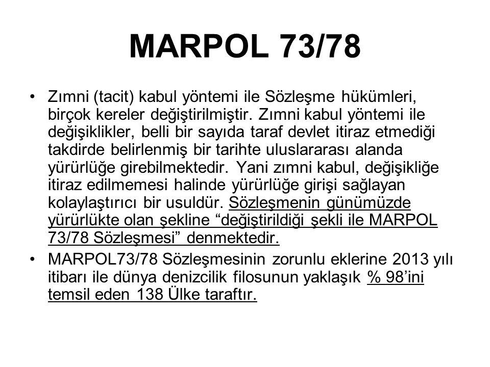 MARPOL 73/78 Zımni (tacit) kabul yöntemi ile Sözleşme hükümleri, birçok kereler değiştirilmiştir.