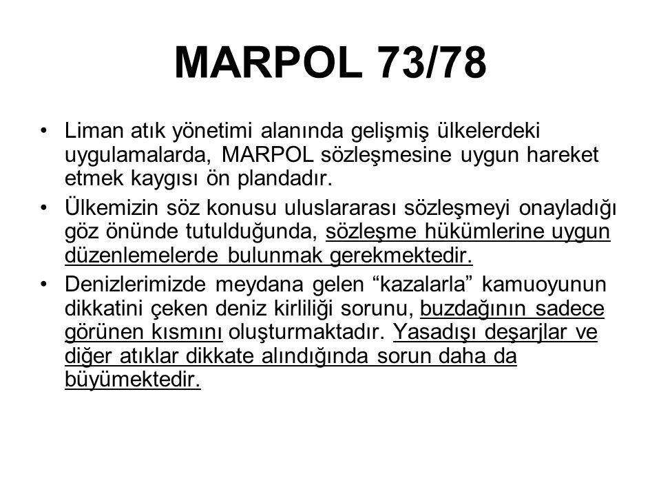 MARPOL 73/78 Liman atık yönetimi alanında gelişmiş ülkelerdeki uygulamalarda, MARPOL sözleşmesine uygun hareket etmek kaygısı ön plandadır.