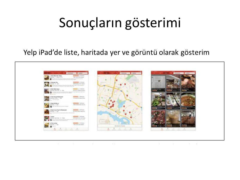 Sonuçların gösterimi Yelp iPad'de liste, haritada yer ve görüntü olarak gösterim