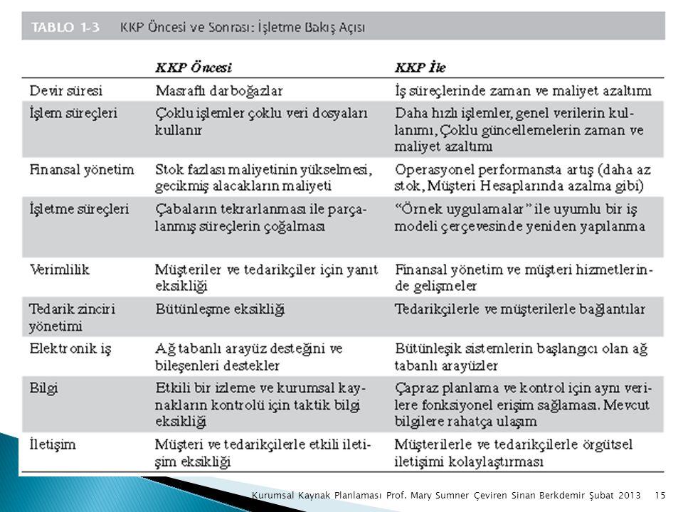 15Kurumsal Kaynak Planlaması Prof. Mary Sumner Çeviren Sinan Berkdemir Şubat 2013