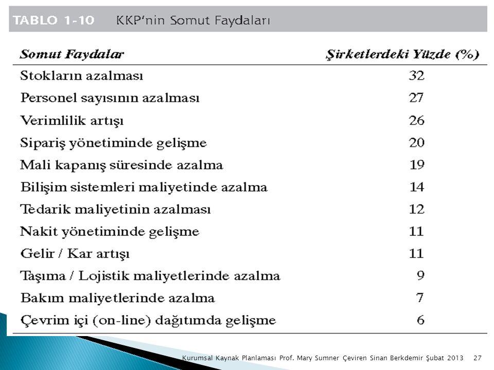 27Kurumsal Kaynak Planlaması Prof. Mary Sumner Çeviren Sinan Berkdemir Şubat 2013