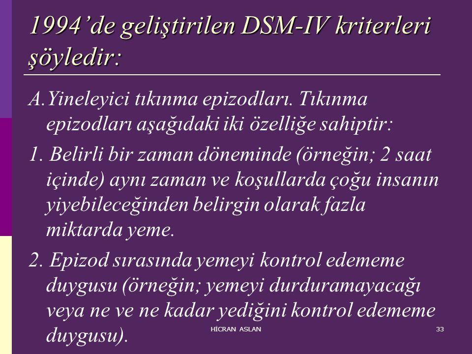 HİCRAN ASLAN33 1994'de geliştirilen DSM-IV kriterleri şöyledir: A.Yineleyici tıkınma epizodları. Tıkınma epizodları aşağıdaki iki özelliğe sahiptir: 1