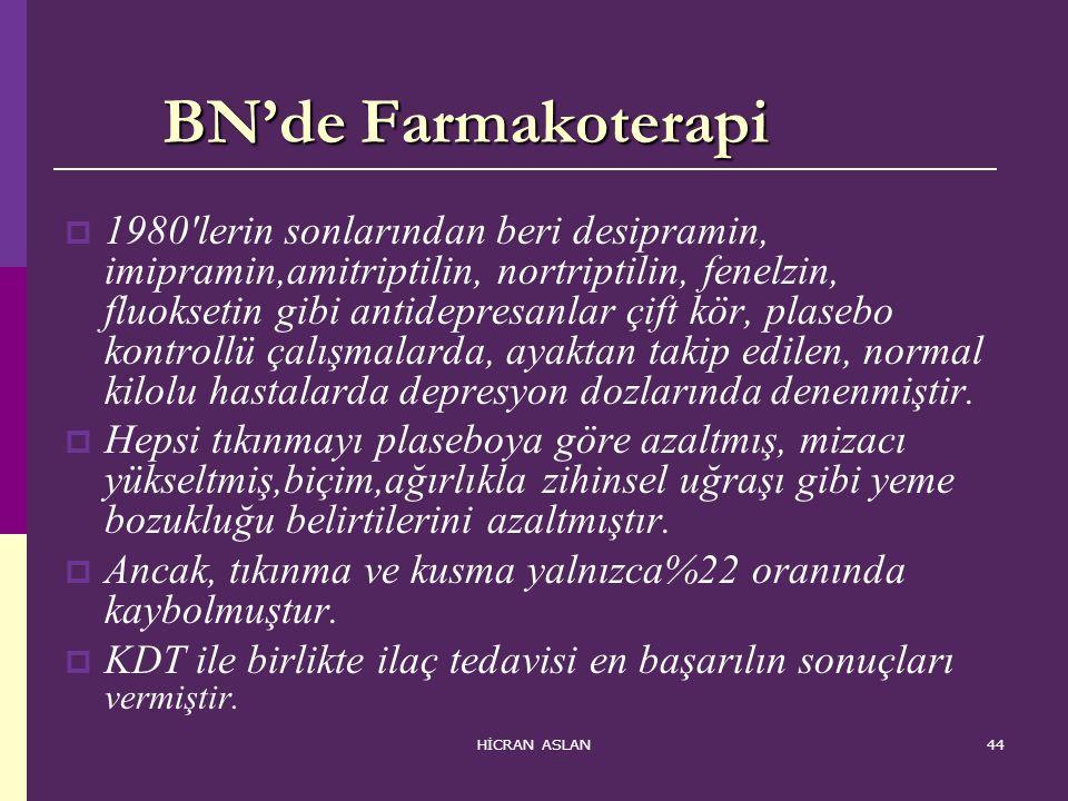 HİCRAN ASLAN44 BN'de Farmakoterapi BN'de Farmakoterapi  1980'lerin sonlarından beri desipramin, imipramin,amitriptilin, nortriptilin, fenelzin, fluok