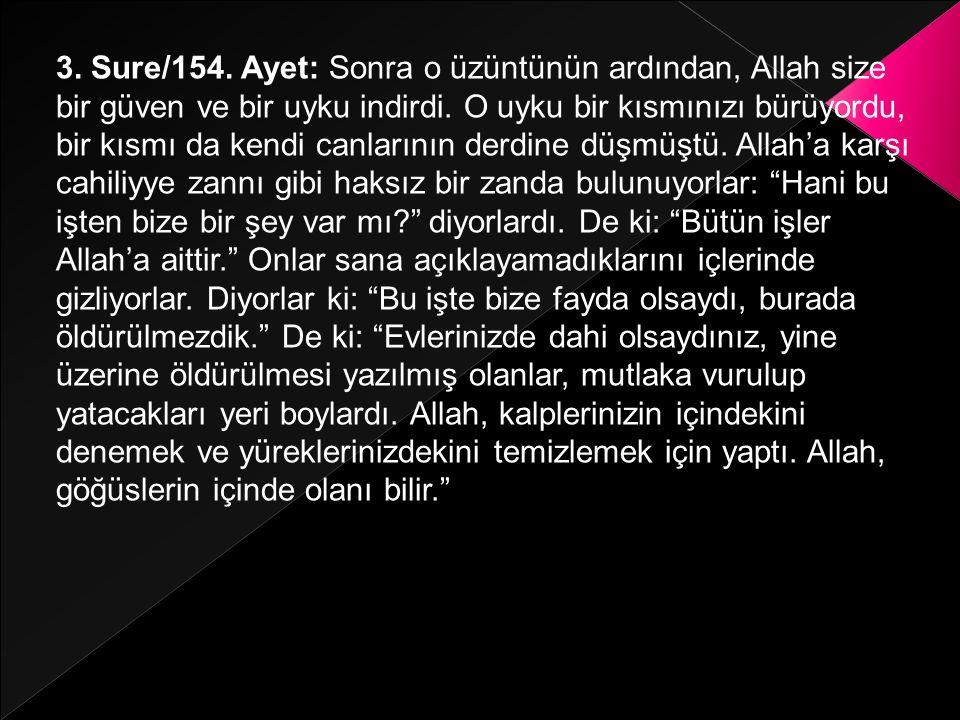 3. Sure/154. Ayet: Sonra o üzüntünün ardından, Allah size bir güven ve bir uyku indirdi.