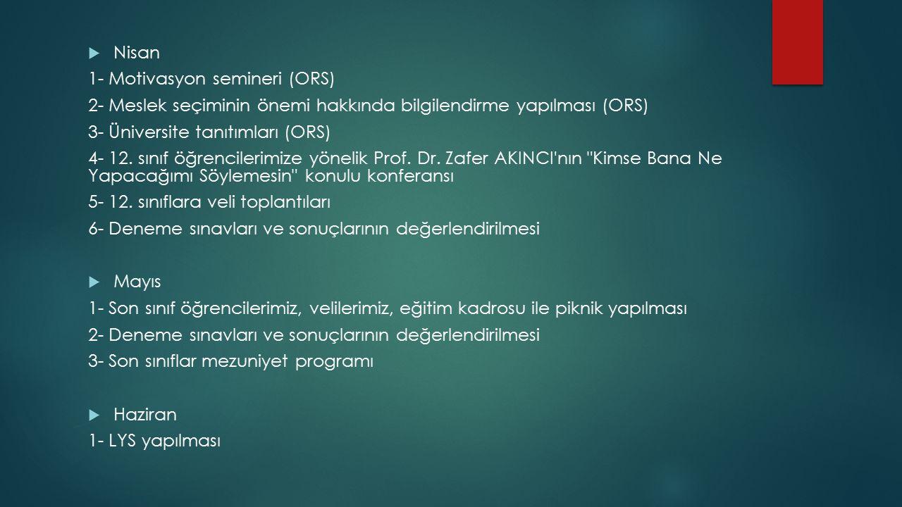  Nisan 1- Motivasyon semineri (ORS) 2- Meslek seçiminin önemi hakkında bilgilendirme yapılması (ORS) 3- Üniversite tanıtımları (ORS) 4- 12.