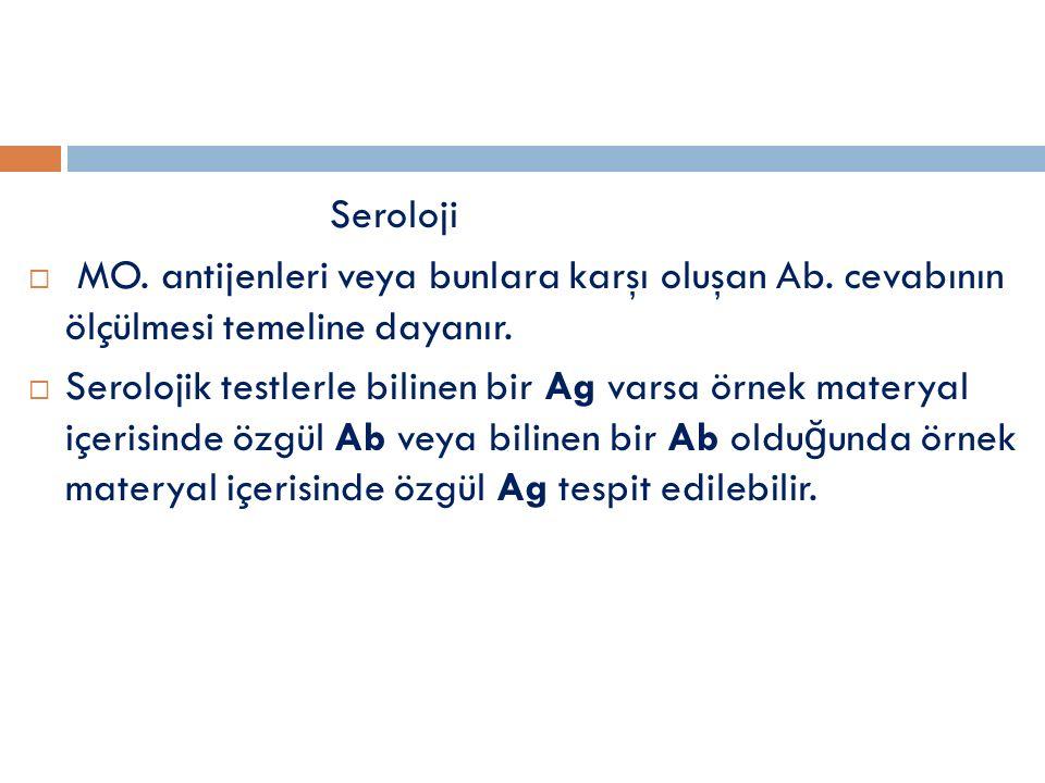 Seroloji  MO.antijenleri veya bunlara karşı oluşan Ab.