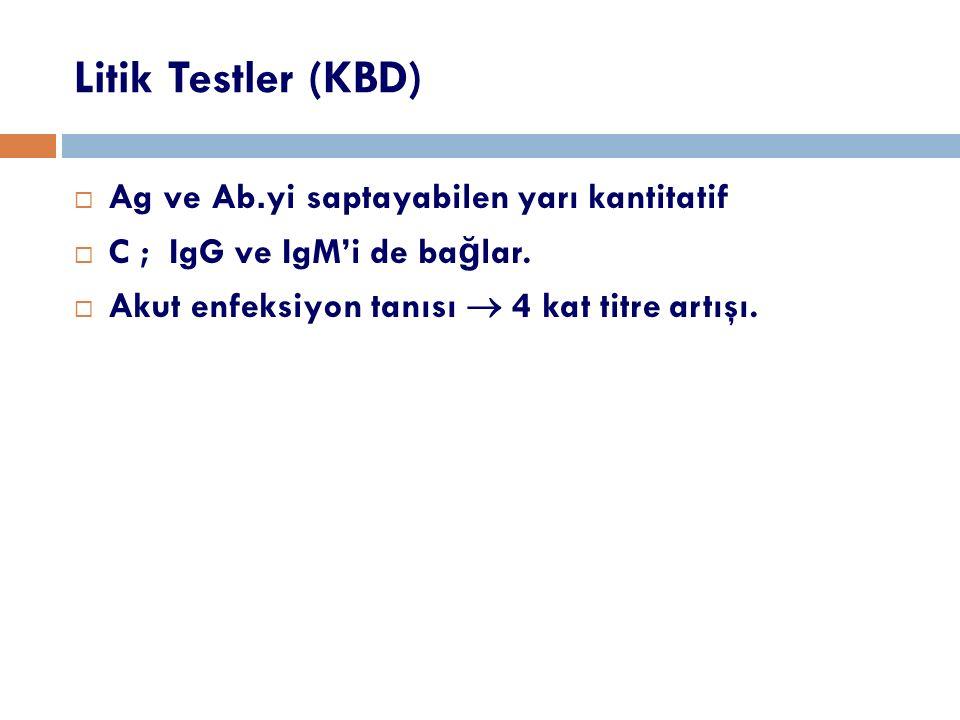 Litik Testler (KBD)  Ag ve Ab.yi saptayabilen yarı kantitatif  C ; IgG ve IgM'i de ba ğ lar.