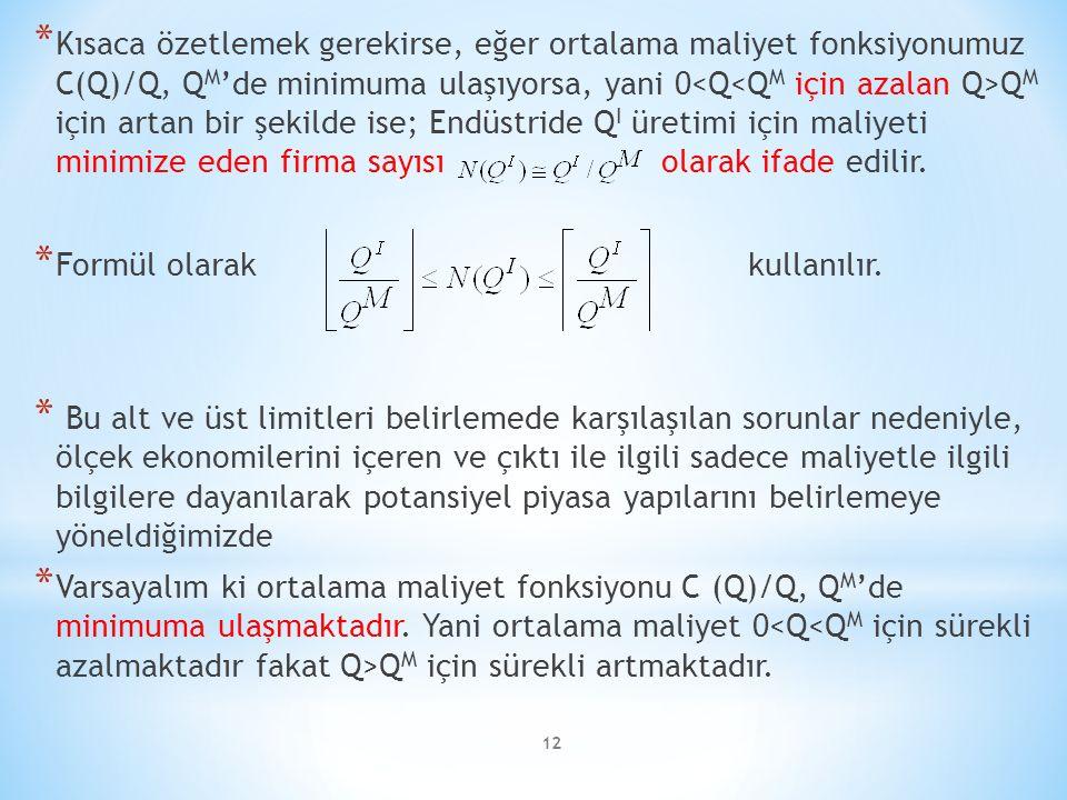 * Kısaca özetlemek gerekirse, eğer ortalama maliyet fonksiyonumuz C(Q)/Q, Q M 'de minimuma ulaşıyorsa, yani 0 Q M için artan bir şekilde ise; Endüstri