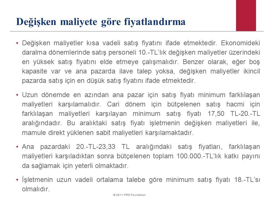 © 2011 IFRS Foundation Değişken maliyete göre fiyatlandırma Değişken maliyetler kısa vadeli satış fiyatını ifade etmektedir. Ekonomideki daralma dönem