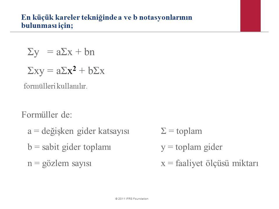 © 2011 IFRS Foundation En küçük kareler tekniğinde a ve b notasyonlarının bulunması için; Σy = aΣx + bn Σxy = aΣx 2 + bΣx formülleri kullanılır. Formü