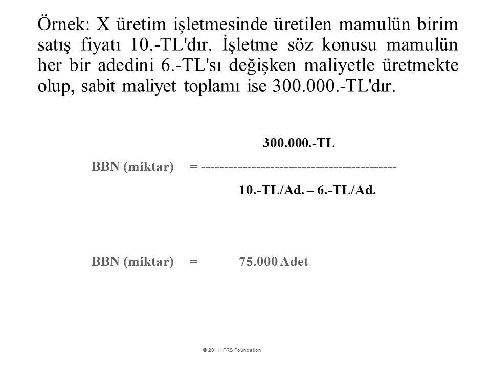 International Financial Reporting Standards © 2011 IFRS Foundation Örnek: X üretim işletmesinde üretilen mamulün birim satış fiyatı 10.-TL'dır. İşletm