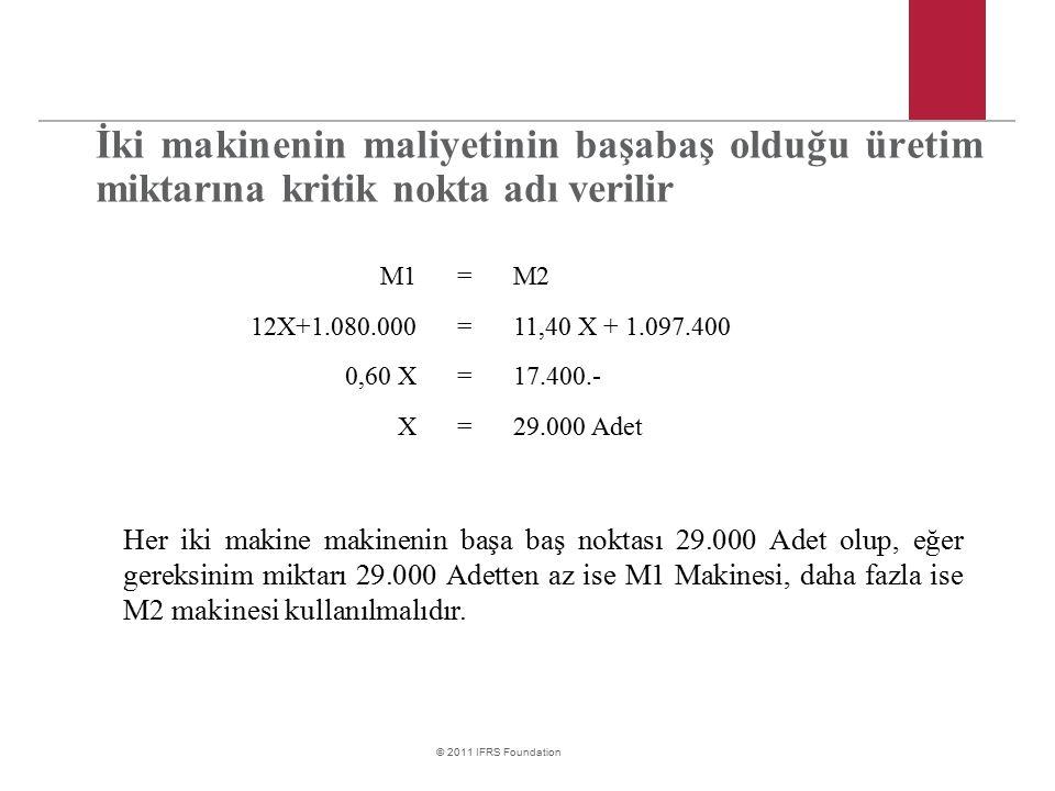 © 2011 IFRS Foundation İki makinenin maliyetinin başabaş olduğu üretim miktarına kritik nokta adı verilir M1=M2 12X+1.080.000=11,40 X + 1.097.400 0,60