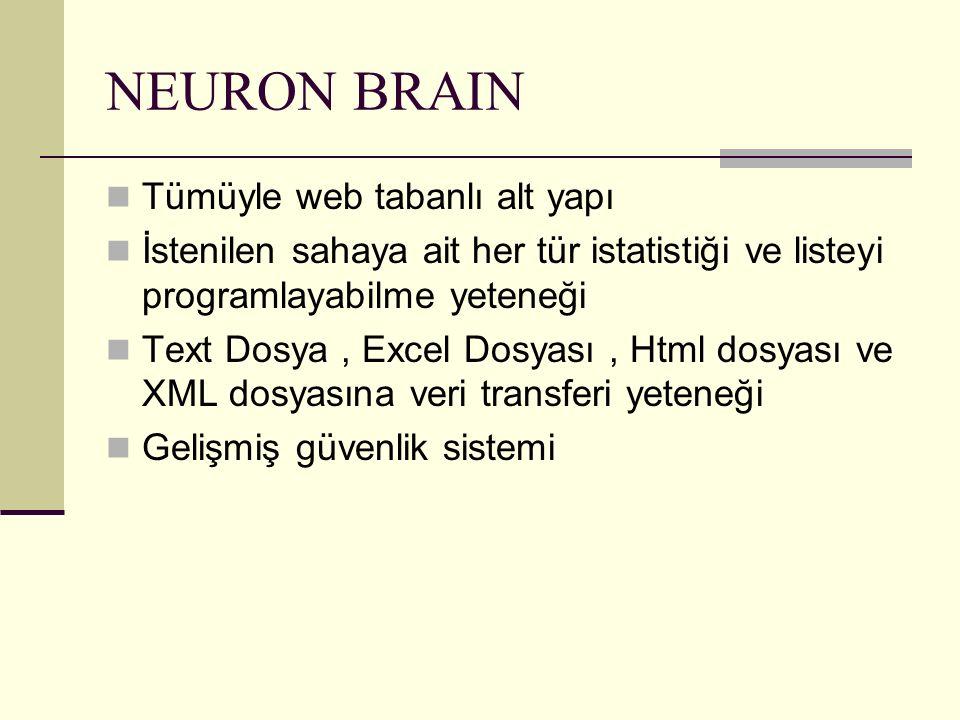 NEURON BRAIN Tümüyle web tabanlı alt yapı İstenilen sahaya ait her tür istatistiği ve listeyi programlayabilme yeteneği Text Dosya, Excel Dosyası, Htm