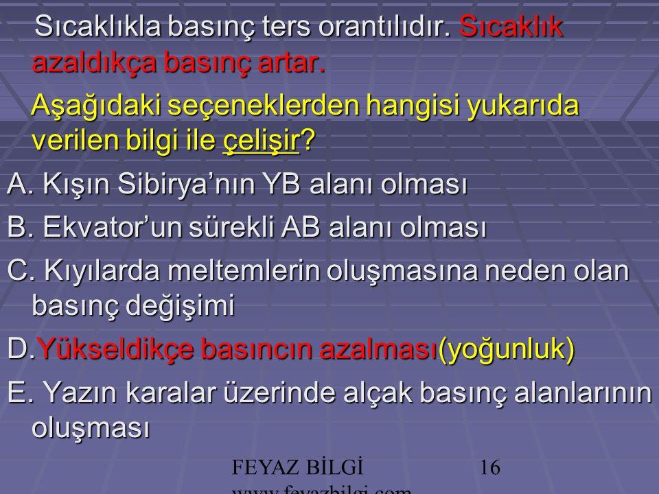 FEYAZ BİLGİ www.feyazbilgi.com 15 Sıcaklıkla basınç ters orantılıdır.