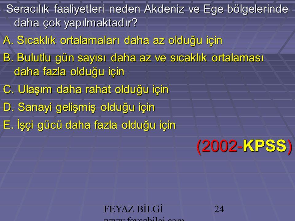 FEYAZ BİLGİ www.feyazbilgi.com 23 Akdeniz İklimi'nin aşağıdaki özelliklerinden hangisi, Akdeniz'in sularının Marmara Denizi'ne göre daha tuzlu olmasının bir nedenidir.