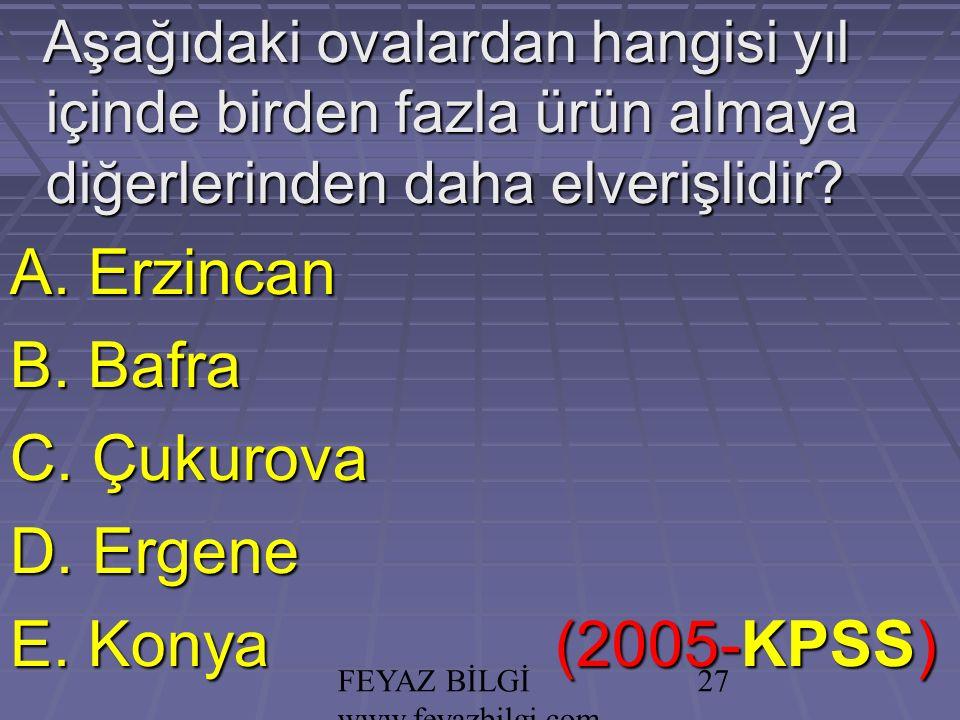 FEYAZ BİLGİ www.feyazbilgi.com 26 PRATİK KURAL: Seracılık; Güneşli gün sayısı fazla, Güneşli gün sayısı fazla, Bulutlu gün sayısı az olan bölgelerde yapılır.
