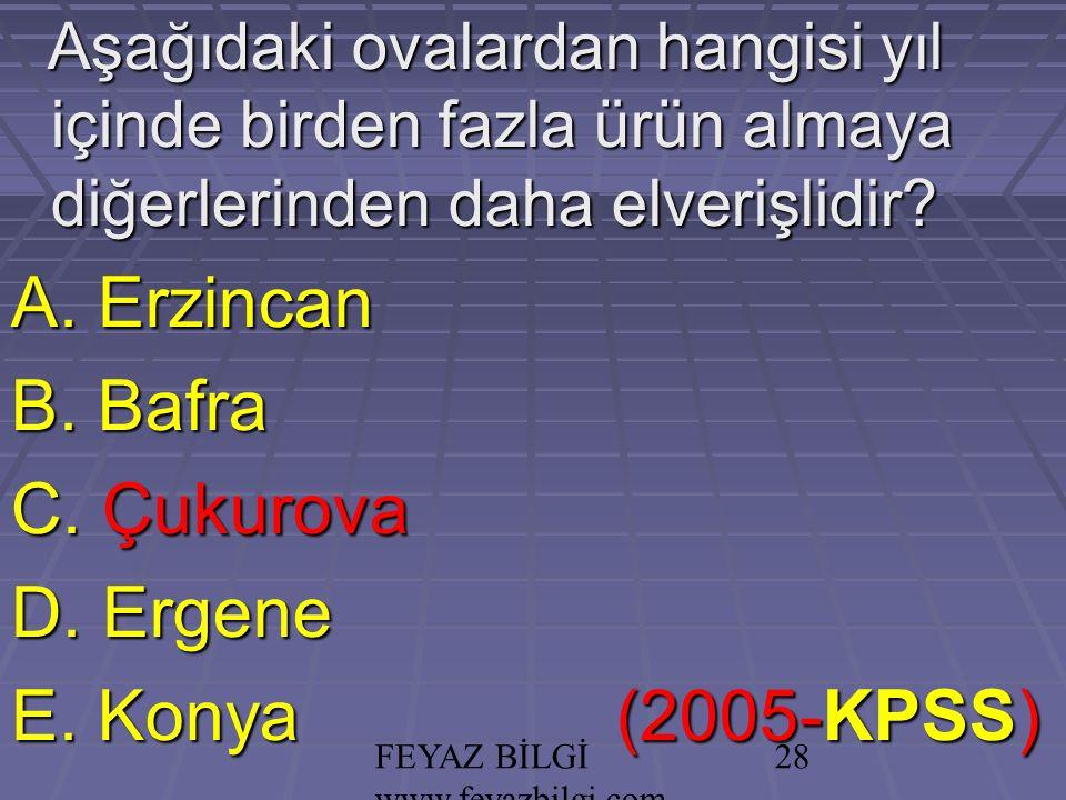 FEYAZ BİLGİ www.feyazbilgi.com 27 Aşağıdaki ovalardan hangisi yıl içinde birden fazla ürün almaya diğerlerinden daha elverişlidir.