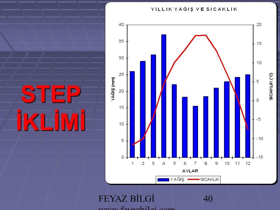 FEYAZ BİLGİ www.feyazbilgi.com 39 STEP İKLİMİ (İÇ ANADOLU) *** İlkbahar yağışlıdır (Kırkikindi yağmurları- Konveksiyonel).