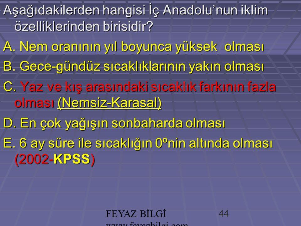 FEYAZ BİLGİ www.feyazbilgi.com 43 Aşağıdakilerden hangisi İç Anadolu'nun iklim özelliklerinden birisidir.