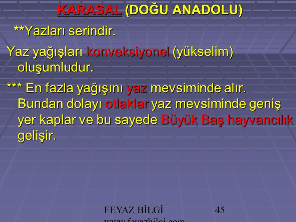 FEYAZ BİLGİ www.feyazbilgi.com 44 Aşağıdakilerden hangisi İç Anadolu'nun iklim özelliklerinden birisidir.