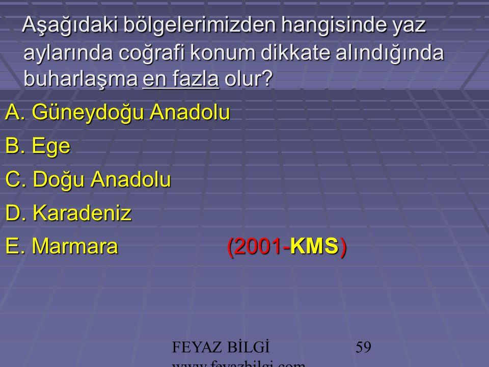 FEYAZ BİLGİ www.feyazbilgi.com 58 YILDIZ KARAYEL POYRAZ KIBLE KEŞİŞLEME SAMYELİ LODOS Etezyen
