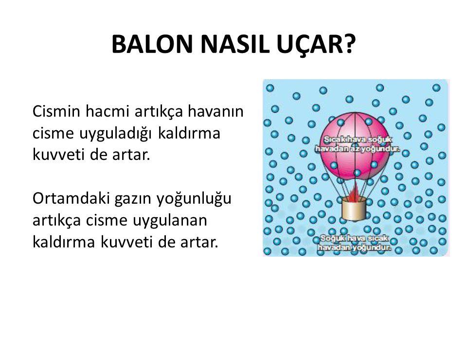 BALON NASIL UÇAR? Cismin hacmi artıkça havanın cisme uyguladığı kaldırma kuvveti de artar. Ortamdaki gazın yoğunluğu artıkça cisme uygulanan kaldırma