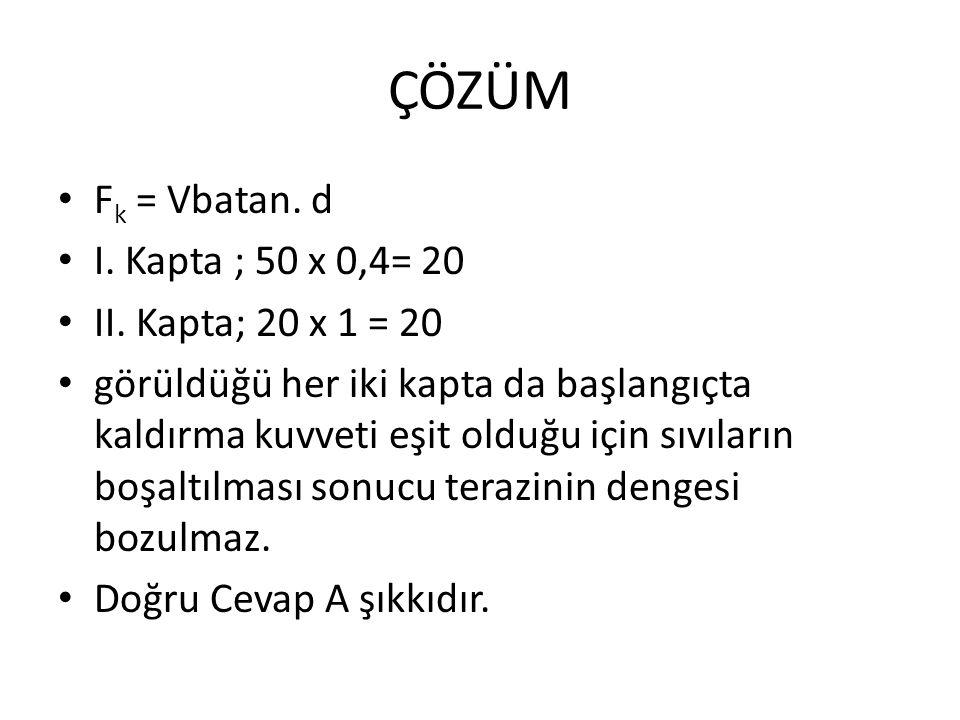 ÇÖZÜM F k = Vbatan.d I. Kapta ; 50 x 0,4= 20 II.