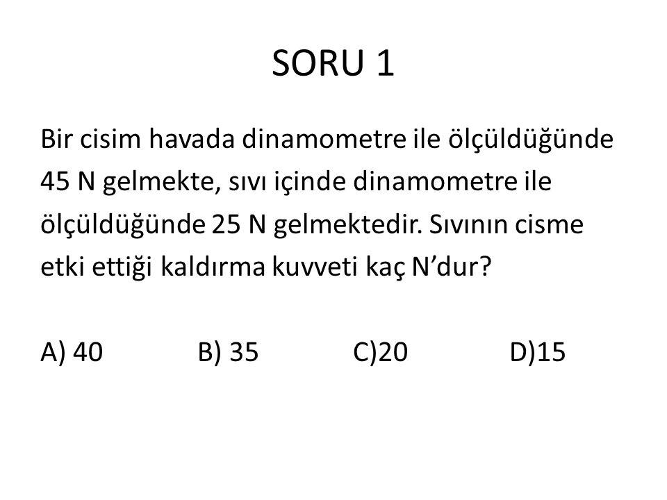 SORU 1 Bir cisim havada dinamometre ile ölçüldüğünde 45 N gelmekte, sıvı içinde dinamometre ile ölçüldüğünde 25 N gelmektedir. Sıvının cisme etki etti