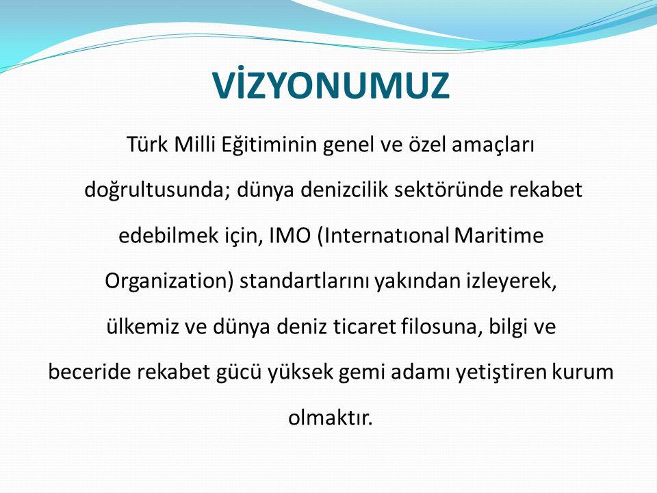 VİZYONUMUZ Türk Milli Eğitiminin genel ve özel amaçları doğrultusunda; dünya denizcilik sektöründe rekabet edebilmek için, IMO (Internatıonal Maritime Organization) standartlarını yakından izleyerek, ülkemiz ve dünya deniz ticaret filosuna, bilgi ve beceride rekabet gücü yüksek gemi adamı yetiştiren kurum olmaktır.