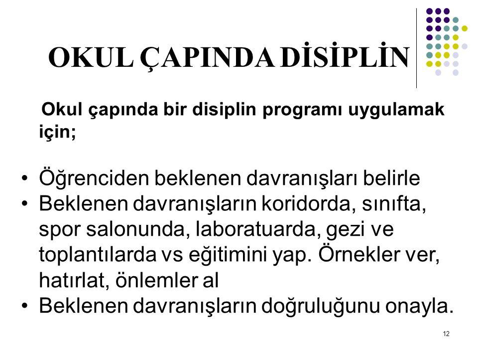 11 SINIF YÖNETİMİ, OKUL YÖNETİMİNDEN KOPUK OLMAZ Disiplin okul çapında ele alınmalıdır. Bunun için; 1.Okulun genel bir disiplin politikası olmalıdır 2